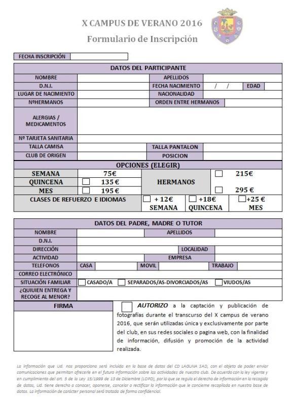 FICHA DE INSCRIPCION X CAMPUS 2016